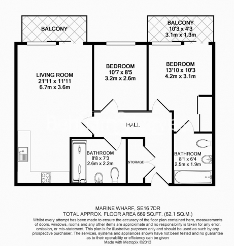 2 bedroom(s) flat to rent in Seafarer Way, Surrey Quays, SE16-Floorplan
