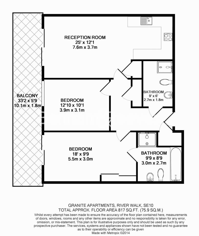 2 bedroom(s) flat to rent in River Gardens Walk, Greenwich, SE10-Floorplan