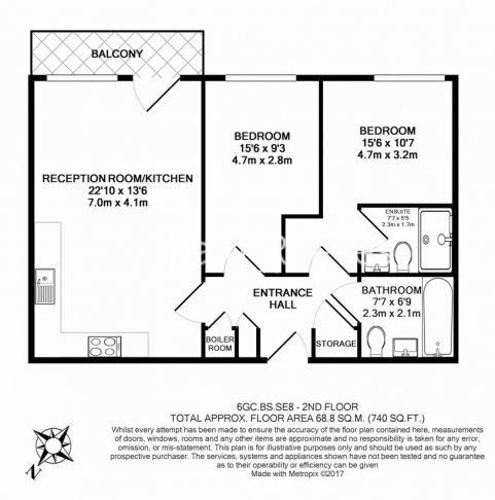 2 bedroom(s) flat to rent in Bailey Street, Surrey Quays, SE8-Floorplan