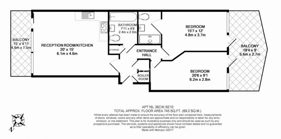2 bedroom(s) flat to rent in Lariat Apartments, Cable Walk, SE10-Floorplan