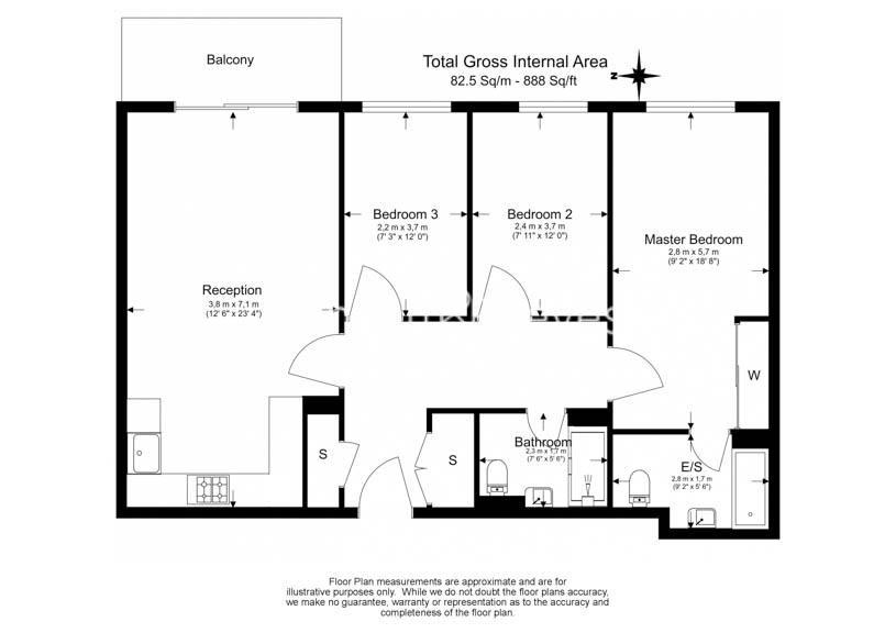 3 bedroom(s) flat to rent in Whiting Way, Surrey Quays, SE16-Floorplan