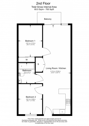 2 bedroom(s) flat to rent in Barracks Court, Major Draper Street, SE18-Floorplan