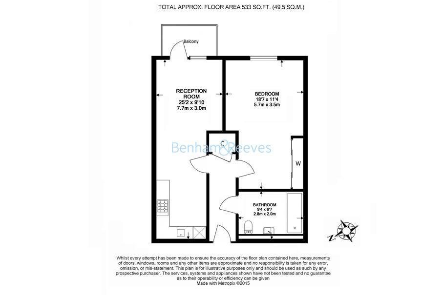 1 bedroom(s) flat to rent in Mercury House, Epsom, KT17-Floorplan