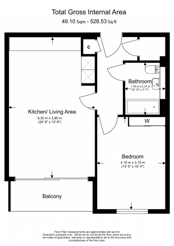 1 bedroom(s) flat to rent in Kew Bridge West, Brentford, TW8-Floorplan