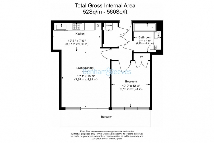 1 bedroom(s) flat to rent in Colonial Drive, Chiswick, W4-Floorplan