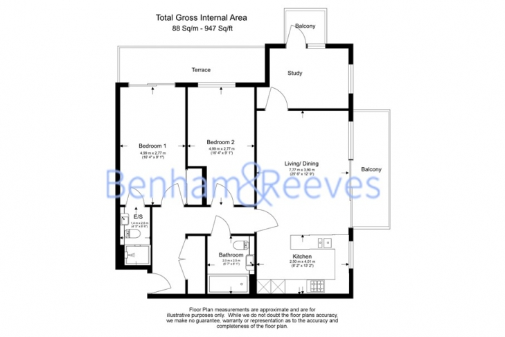 2 bedroom(s) flat to rent in Kew Bridge Road, Brentford, TW8-Floorplan