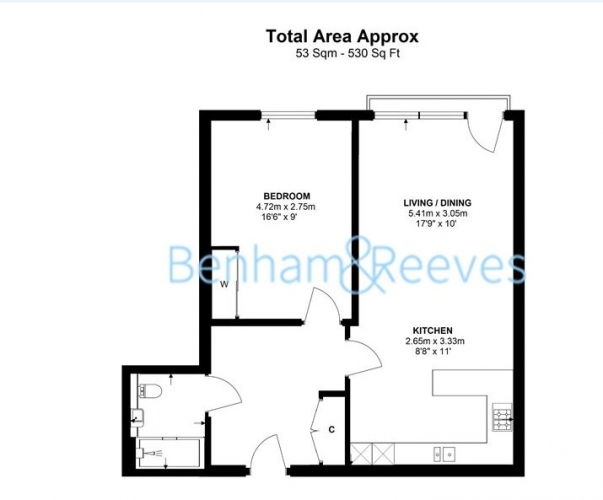 1 bedroom(s) flat to rent in Kew Bridge Road, Kew, TW8-Floorplan