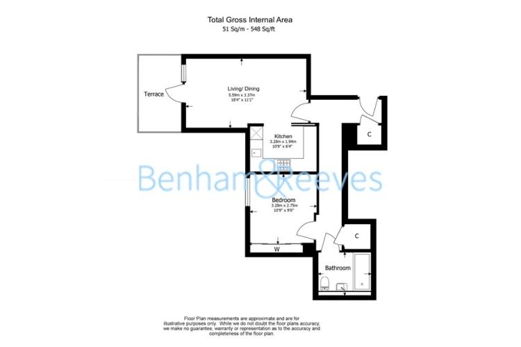 1 bedroom(s) flat to rent in Kew Bridge Road, Brentford, TW8-Floorplan