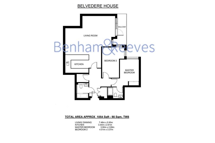 2 bedroom(s) flat to rent in Belvedere House, Brentford, TW8-Floorplan