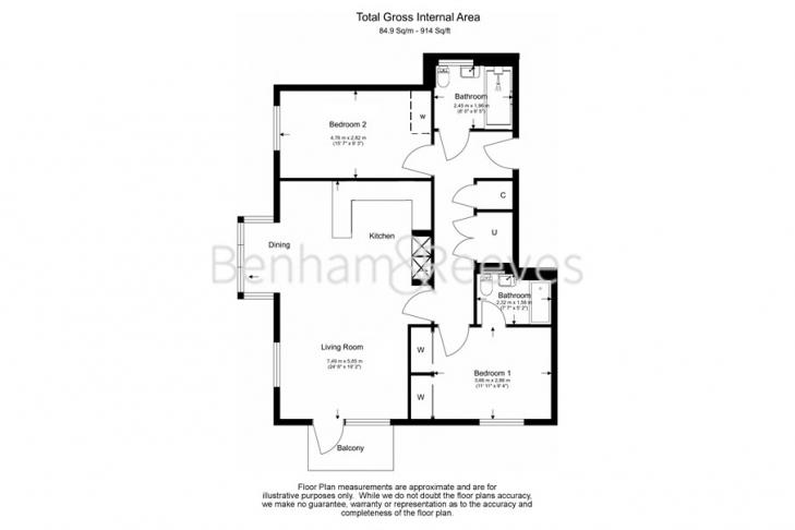 2 bedroom(s) flat to rent in Heritage Place, Brentford, TW8-Floorplan