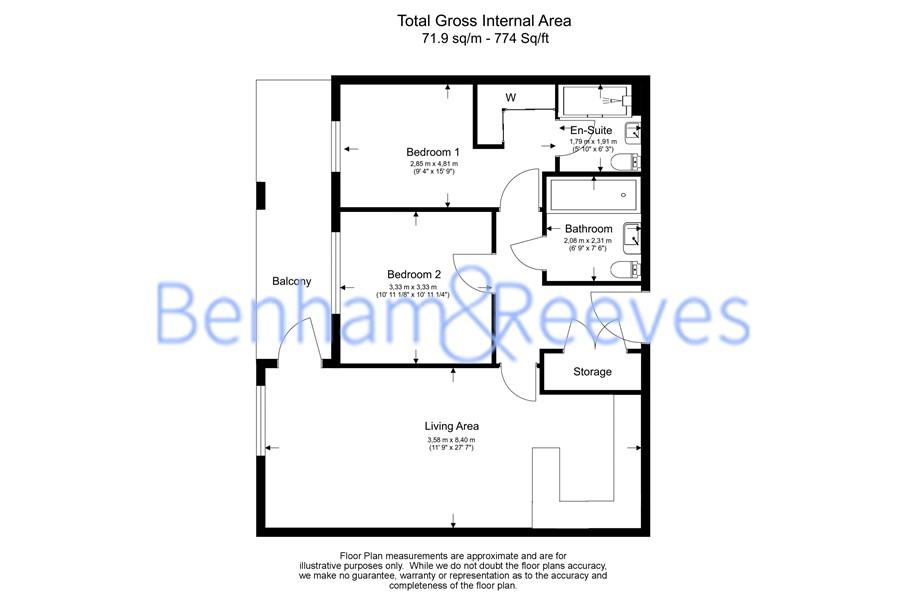 2 bedroom(s) flat to rent in Queenshurst Square, Kingston Upon Thames, KT2-Floorplan
