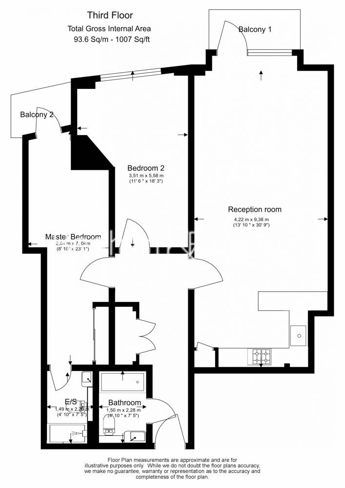 2 bedroom(s) flat to rent in Kew Bridge Road, Brentford, TW8-Floorplan