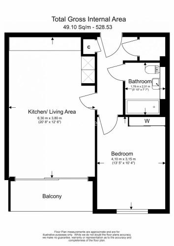 1 bedroom(s) flat to rent in Pump House Crescent, Kew Bridge West, TW8-Floorplan