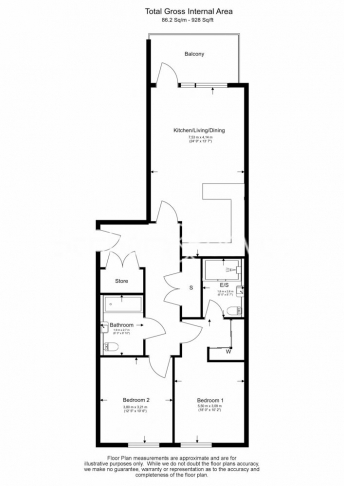 2 bedroom(s) flat to rent in QueenshurstSquare, Kingston Upon Thames, KT2-Floorplan