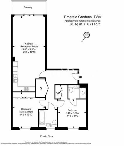2 bedroom(s) flat to rent in Levett Square, Kew, TW9-Floorplan