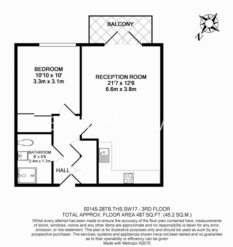 1 bedroom(s) flat to rent in Tooting High Street, Nine Elms, SW17-Floorplan