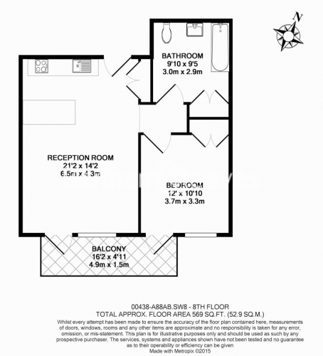 1 bedroom(s) flat to rent in Embassy Gardens, Battersea, SW8-Floorplan