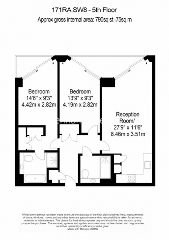 2 bedroom(s) flat to rent in Riverlight Quay, Nine Elms, SW8-Floorplan