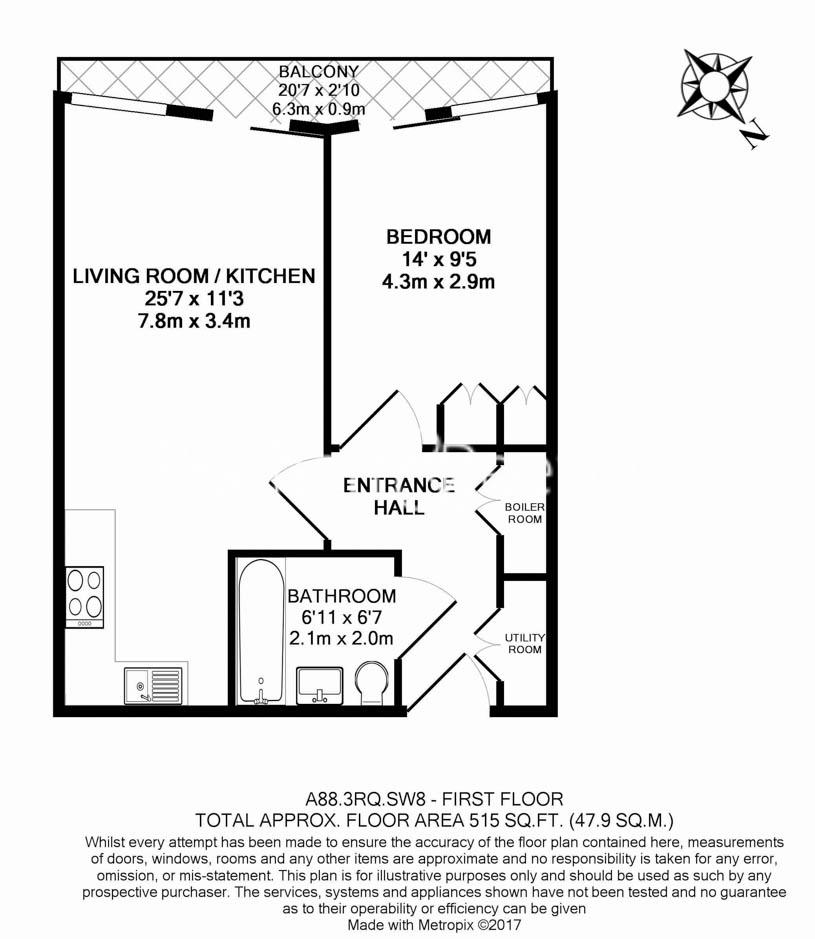 1 bedroom(s) flat to rent in Riverlight Apartments, Nine Elms, SW8-Floorplan