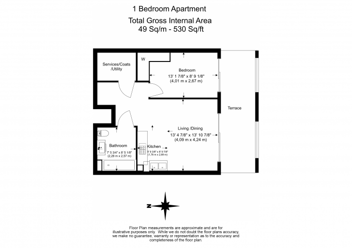 1 bedroom(s) flat to rent in Valetta House, Queenstown Road, SW11-Floorplan