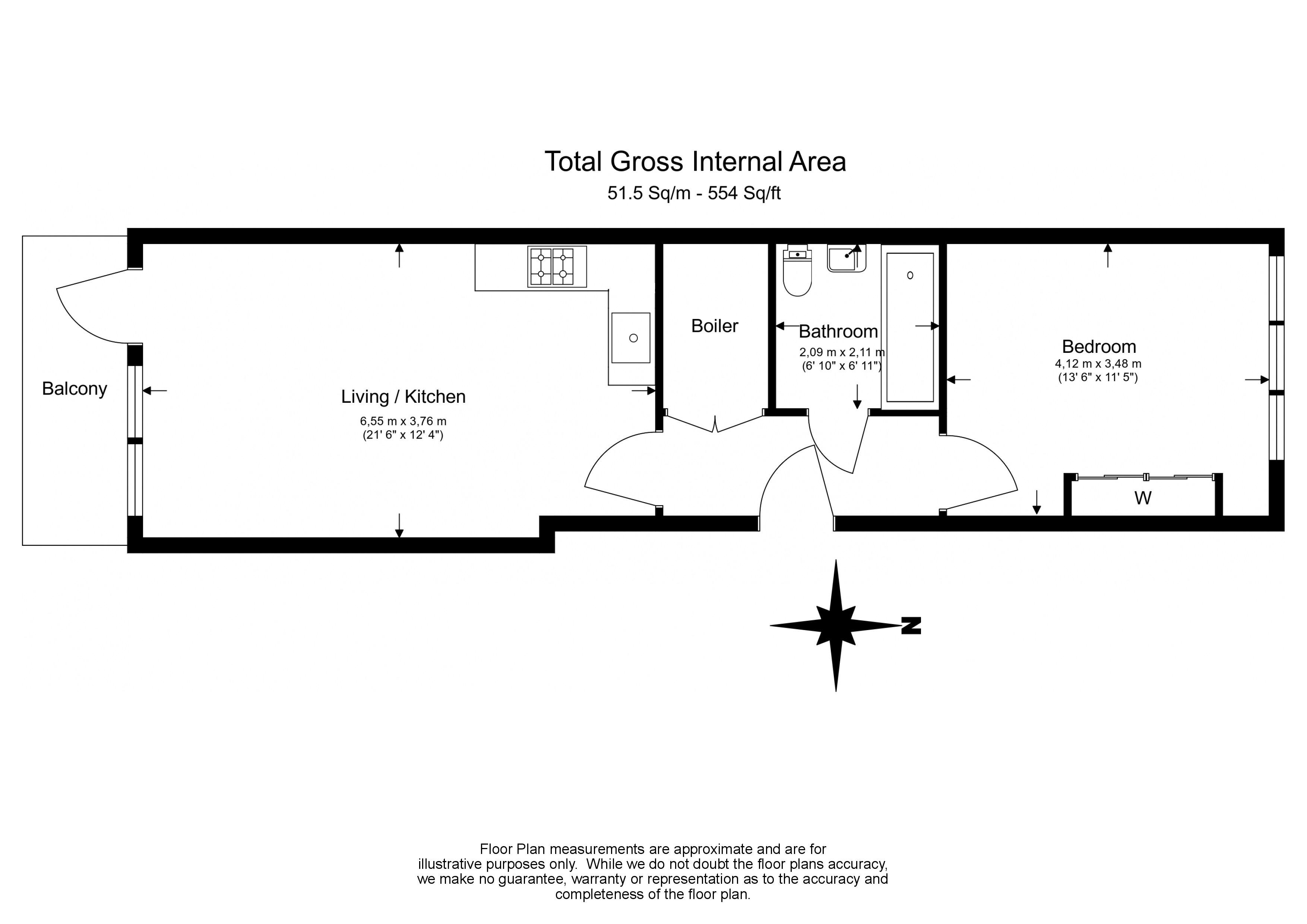 1 bedroom(s) flat to rent in Scena Way, Nine Elms, SE5-Floorplan