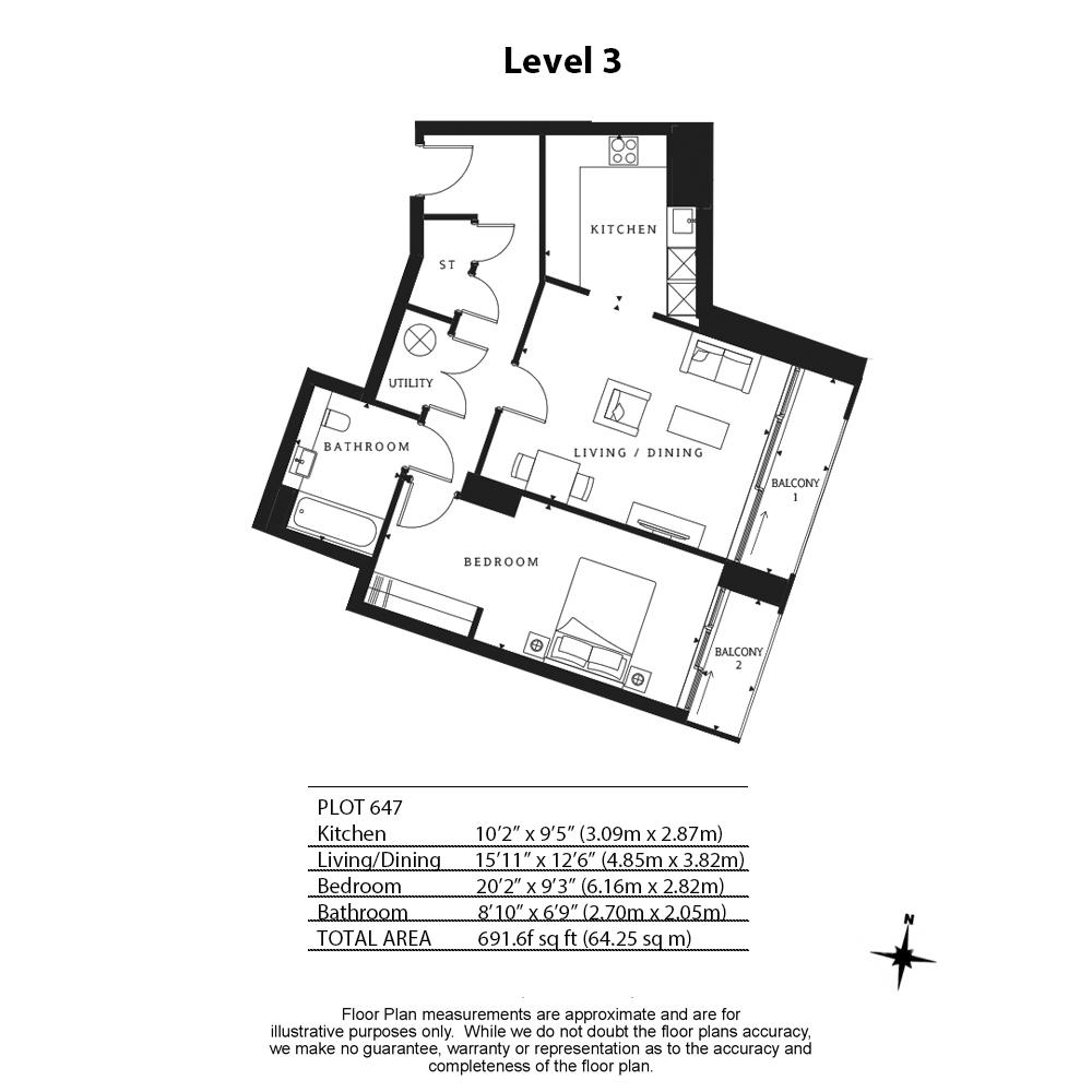 1 bedroom(s) flat to rent in Wandsworth Road, Nine Elms, SW8-Floorplan