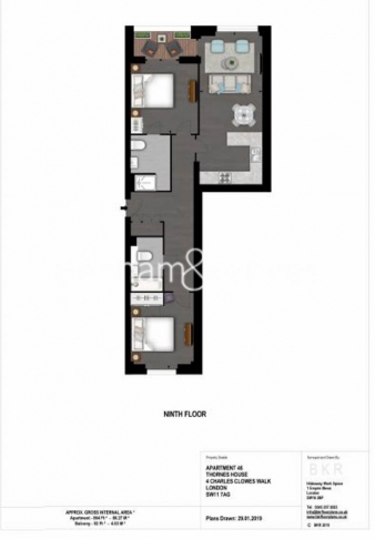 2 bedroom(s) flat to rent in Thornes House, Charles Clowes Walk, SW11-Floorplan