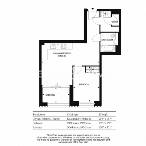 1 bedroom(s) flat to rent in Chartwell House, Palmer Road, SW11-Floorplan