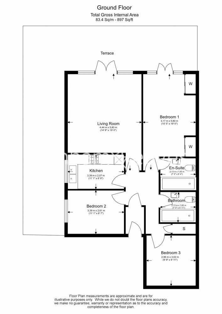 3 bedroom(s) flat to rent in Parkhill Road, Belsize Park, NW3-Floorplan
