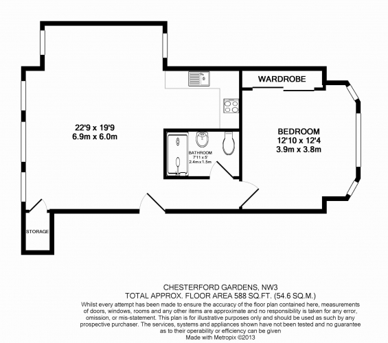 1 bedroom(s) flat to rent in Chesterford Gardens, Hampstead, NW3-Floorplan