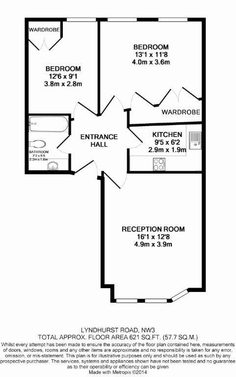 2 bedroom(s) flat to rent in Lyndhurst Road, Hampstead, NW3-Floorplan