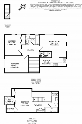 3 bedroom(s) flat to rent in Goldhurst Terrace, South Hampstead, NW6-Floorplan