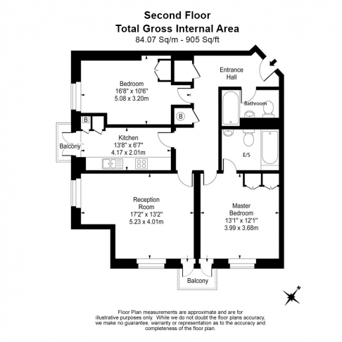 2 bedroom(s) flat to rent in Heathview Court, Golders Green, NW11-Floorplan