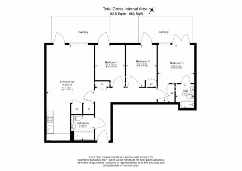 3 bedroom(s) flat to rent in Masefield Court ,Maida Vale ,W9-Floorplan