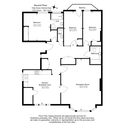 3 bedroom(s) flat to rent in Chesterford ,Chesterford Gardens NW3-Floorplan