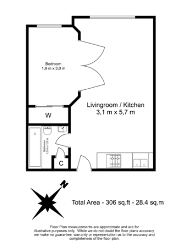 1 bedroom(s) flat to rent in Nell Gwynn House, Sloane Avenue, SW3-Floorplan