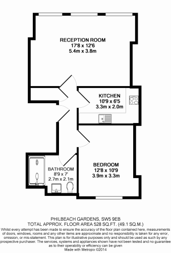 1 bedroom(s) flat to rent in Philbeach Gardens, Earl's Court, SW5-Floorplan