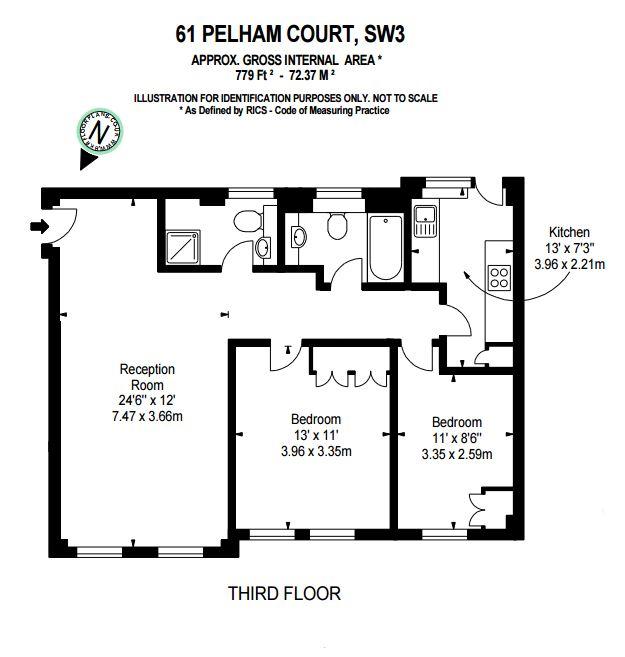 2 bedroom(s) flat to rent in Pelham Court, Fulham Road, SW3-Floorplan