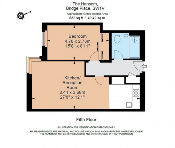 1 bedroom(s) flat to rent in The Hansom, Victoria SW1-Floorplan