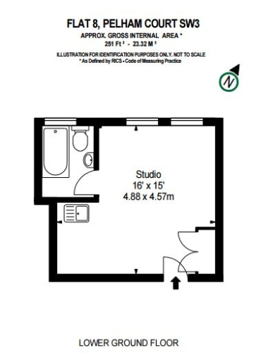 Studio flat to rent in Pelham Court, Fulham Road, Chelsea, SW3-Floorplan