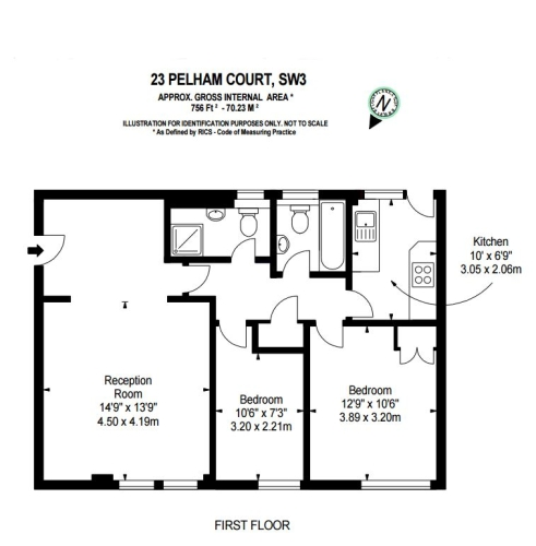 2 bedroom(s) flat to rent in Pelham Court, Fulham Road, Chelsea, SW3-Floorplan