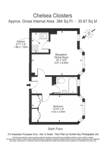 1 bedroom(s) flat to rent in Chelsea Cloisters, Sloane Avenue, SW3-Floorplan