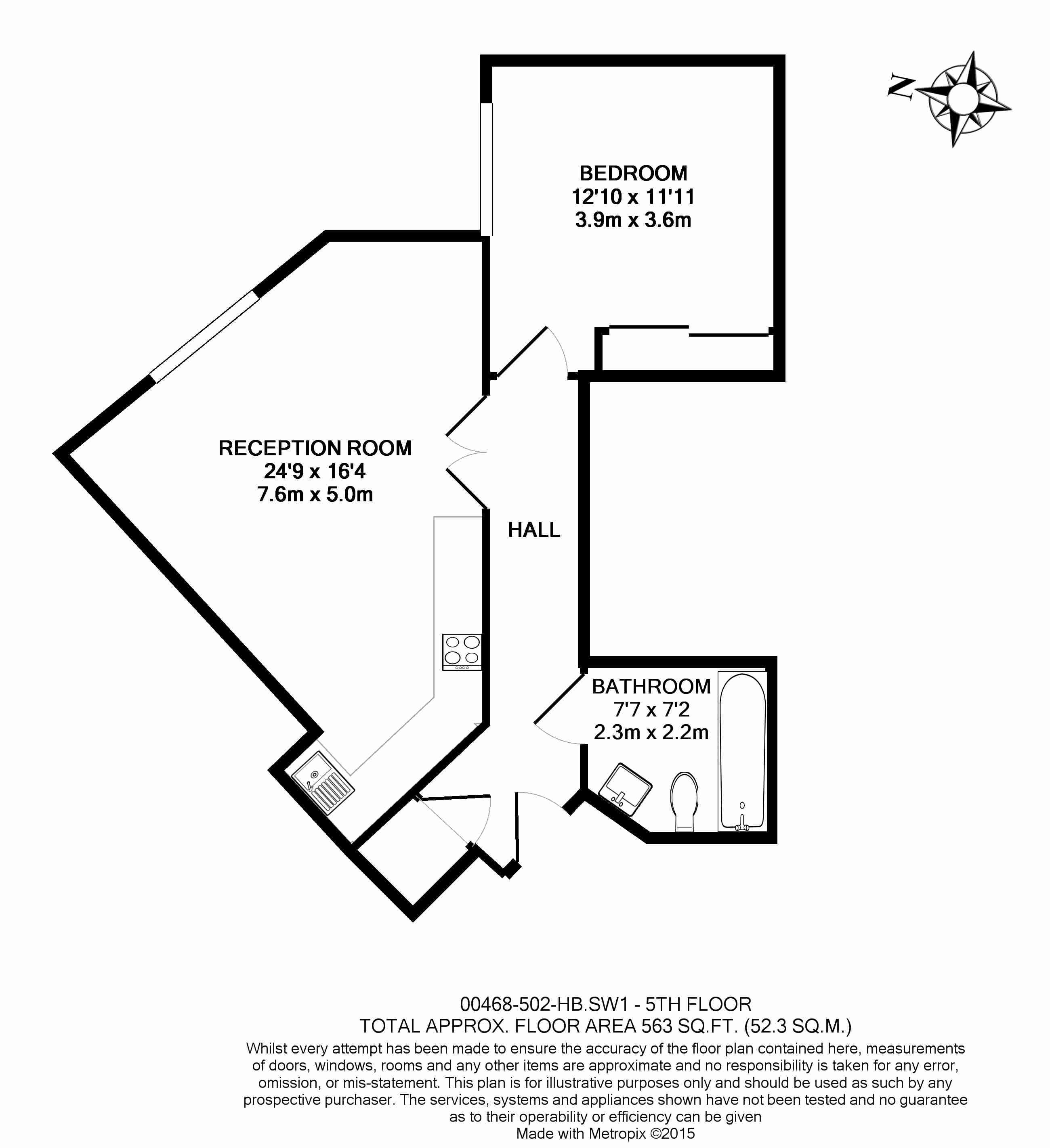 1 bedroom(s) flat to rent in The Hansom, Bridge Place, Victoria, SW1-Floorplan