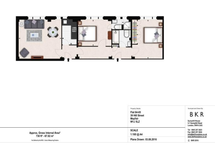 2 bedroom(s) flat to rent in Hill Street Apartments, Mayfair, W1-Floorplan