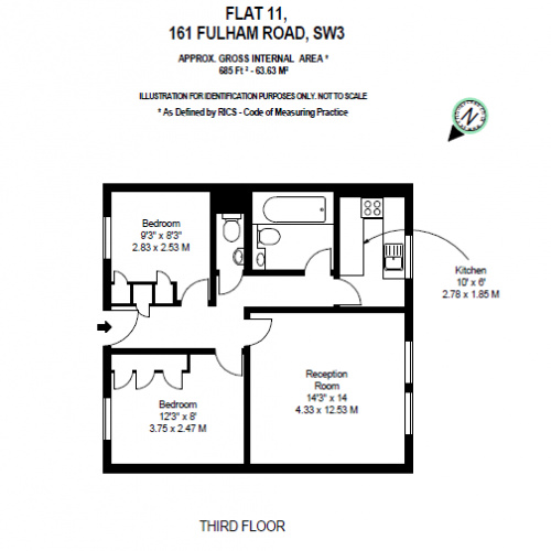 2 bedroom(s) flat to rent in 161 Fulham Road, Chelsea, SW3-Floorplan