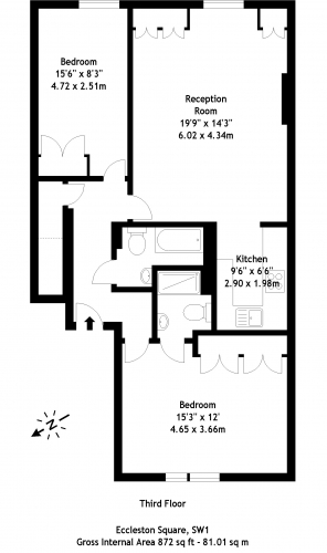 2 bedroom(s) flat to rent in Eccleston Square, Pimlico, SW1-Floorplan
