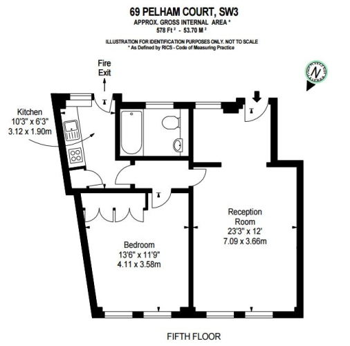 1 bedroom(s) flat to rent in Pelham Court, Fulham Road, SW3-Floorplan
