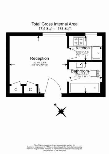 Studio flat to rent in Chelsea Cloisters, Chelsea, SW3-Floorplan
