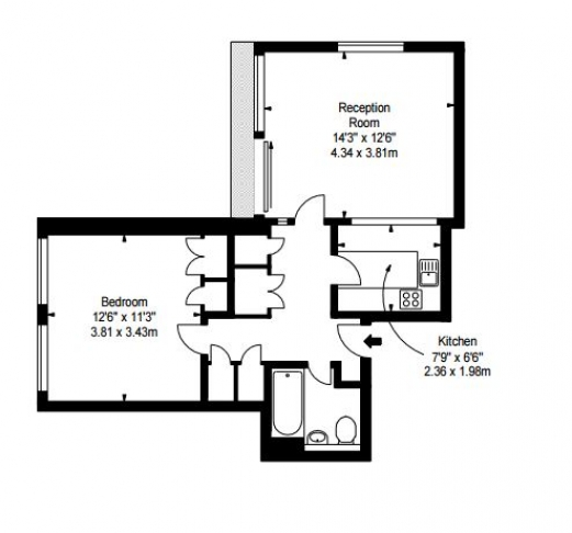 1 bedroom(s) flat to rent in Luke House, Abbey Orchard Street, Victoria, SW1P-Floorplan