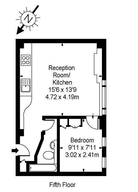 1 bedroom(s) flat to rent in Nell Gwynn House, Sloane Avenue, SW3-Floorplan